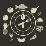 Clock and different dishes menu Stock Photography