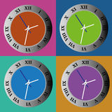 Clock. Different clock on squares with different color Royalty Free Stock Photos