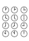 Clock different symbols. Different shaped clocks in hand drawn sketch Stock Images