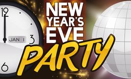 Clock and Disco Ball to Celebrate in New Year Party, Vector Illustration. Banner with clock pointing to midnight and silver disco ball to begin the new year with vector illustration