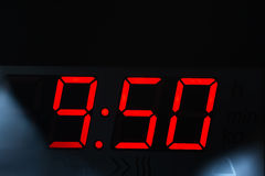 Clock display. Close up of a clock display from modern microwave oven, Hdr image Royalty Free Stock Photos