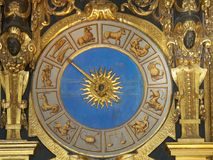 Clock in Doge`s Palace. Venice,Italy-July 25, 2018: Ancient clock in Doge`s Palace or Palazzo Ducale, Venice royalty free stock photography