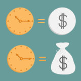 Clock and dollar coin and bag. Icons. Time is mone Royalty Free Stock Image