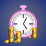 Clock with Dollar Coins for Time is Money concept. Glossy Clock with stack of golden dollar coins on infographic elements background for Business, Time is Money Royalty Free Stock Images