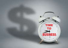Clock with dollar shadow, time to business startup concept Stock Photography