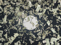 Clock and dollars Stock Image
