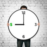 Clock with dollars icon Royalty Free Stock Photography