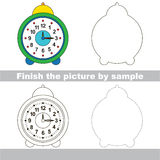 Clock. Drawing worksheet. Stock Image