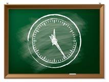 Clock drawn on chalkboard Royalty Free Stock Image