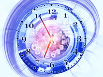 Clock dynamic. Arrangement of gears, clock elements, dials and dynamic swirly lines on the subject of scheduling, temporal and time related processes, deadlines Stock Images