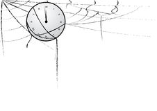 Clock entangled in spiderweb Stock Photo