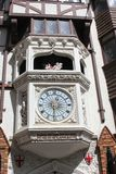 Ancient clock at entrance of London Court, Perth, Australia. Clock with Tournament of Amoured Knights and fachwerk at the entrance of London Court at Hay Street royalty free stock photo