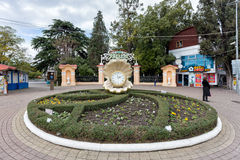 Clock at entrance to Riviera Park. Sochi. Russia Royalty Free Stock Photo