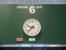 Clock at exit six in airport. MILAN - APRIL 8 : Morning time show in clock at Exit six in Malpensa Airport, Milan, Italy, on April 8, 2017 Royalty Free Stock Photos