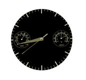 Clock with extra features. Black faced clock which tells the time and in addition monitors temperature and humidity stock photos