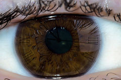 Clock eye. Clock ticking inside a humans eye Stock Photo