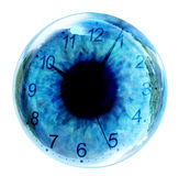 Clock in eye Stock Photo