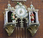 Clock on the facade of Fortnum & Mason building. The famous clock shows 7 oclock on the facade of Fortnum & Mason main building Royalty Free Stock Image