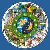Clock Face. Cartoon Illustration, Bitmap Stock Image