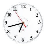 Clock face. White clock face with classical figures  isolated Stock Photography