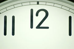 Clock face. A white clock face with black numbers Stock Photos