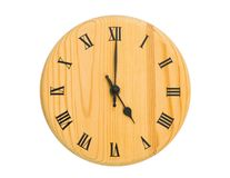 Clock face. Wooden clock face isolated on white royalty free stock photos