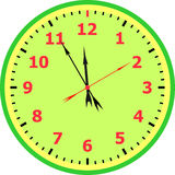 Clock face. Reading about five minutes until 12 stock illustration