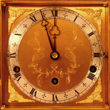 Clock Face. Brass and silver clock face with black steel hands Stock Image