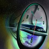 Clock face and airplane Stock Image