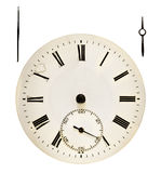 Clock face. Antique clock face. Clockwise min-hour with clipping path stock image