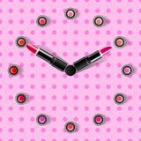 Clock face and arrows on a pink background made from lipsticks stock illustration