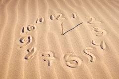 Clock face  on beach. Illustration of a clock face with hands pointing to 12 and 2 created on a sandy beach covered in a feint ripple pattern Stock Photos