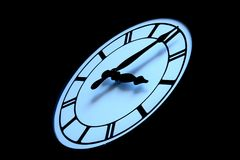 Clock face on black background one. Clockface on black background, with shadows, time is five after three Royalty Free Stock Image