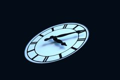 Clock face on black background two Royalty Free Stock Photos