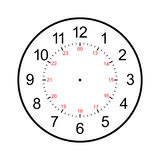 Clock face blank isolated on white background Stock Photography