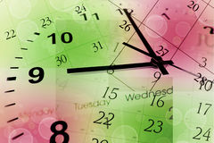 Clock face and calendar. On color background stock image