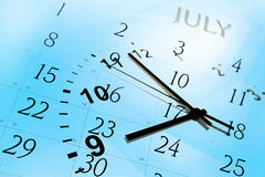 Clock face and calendar Royalty Free Stock Image