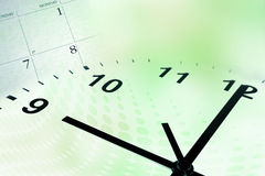 Clock face and calendar. On color background royalty free stock photography
