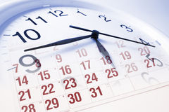 Clock Face and Calendar Royalty Free Stock Photos