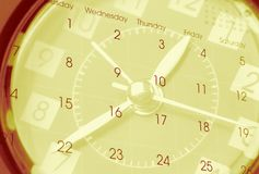Clock and calendar. Clock face and calendar composite Royalty Free Stock Image