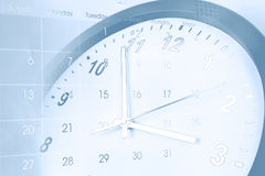 Clock and calendar. Clock face and calendar composite Stock Images