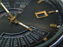 Clock-face close-up. Watch clock-face close-up with date and calendar Royalty Free Stock Image