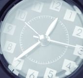 Clock face. Closeup of hands on clock face Royalty Free Stock Photography