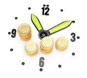 Clock face and coins Stock Photos