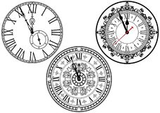 Clock Face Collection. Clock Faces with Ornamental Decoration - Black and White Design Elements, Vector Illustration Vector Illustration