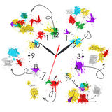 Clock face with colored business sketches Stock Image