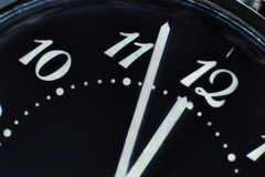 Clock face in darkness taken closeup.Eve of new year. Royalty Free Stock Photography