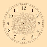Clock face decorated with doodle flowers Royalty Free Stock Images