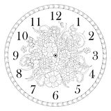 Clock face decorated with doodle flowers on white background Stock Image