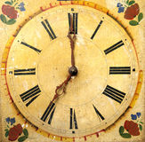 Clock face dial vintage wooden. Flowers Royalty Free Stock Image